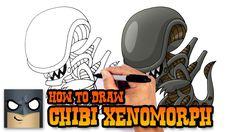 xenomorph drawings alien draw drawing lesson easy cartooning kratos cartoon aliens