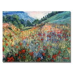 'Field of Wild Floweres' Canvas Art | Overstock™ Shopping - Top Rated Trademark Fine Art Canvas