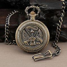 Rodada dos homens Dial Militar dos Estados Unidos Exército Estilo Quartz Analógico Relógio de bolso de 2015 por €45.68