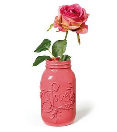 hot glue on a jar, painted over in one color