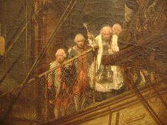 Immersion en mer - Le peintre ISABEY a représenté la cérémonie d'immersion d'un officier mort au combat sur un vaisseau du Roi,l'aumonier   dirige la cérémonie
