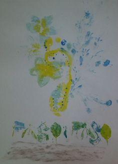 Para la segunda tarea hice 5 obras realizadas con estampados naturales y frottage, esa realizada con temperas y carboncillo marrón. Aparte de aprender estas técnicas y su utilización en el arte a lo largo de la historia, también aprendí sobre la evolución del paisaje como género artístico desde el renacimiento.