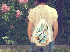 Geometric mountain- screen printed canvas backpack tote