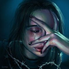 Im crying because of love Digital Art Girl, Digital Portrait, Portrait Art, Cartoon Kunst, Cartoon Art, Art Sketches, Art Drawings, Arte Obscura, Sad Art