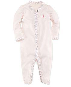 Ralph Lauren Baby Coverall, Baby Girls Interlock Stretch Creeper - Kids Baby Girl (0-24 months) - Macy's
