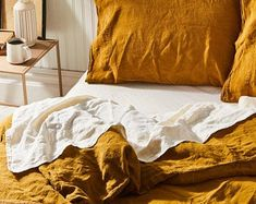 Orange duvet cover king   Etsy Linen Sheets, Bed Linen Sets, Linen Bedding, Orange Duvet Covers, Best Duvet Covers, King Size Sheets, Luxury Home Decor, Flat Sheets, Queen Beds