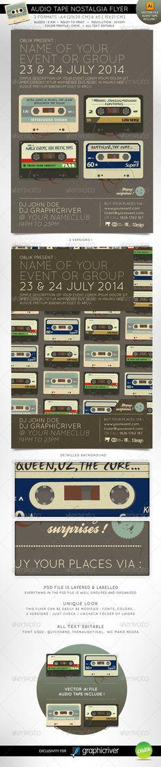 Audio tape nostalgia event flyer A4 A5 $6.00