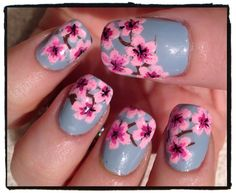 light pink nails with cherry blossoms - Google Search