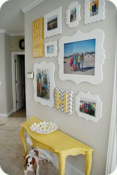 love the chevron monogram - can do on canvas and cover up weird outlet in middle of wall.