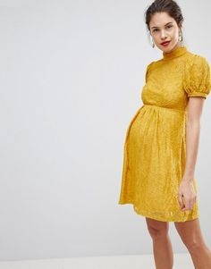 ASOS Maternity | ASOS MATERNITY Mini Lace Dress With Puff Sleeve