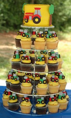 Tractor Theme Cake And Cupcake Tower