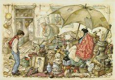 Rummage Sale - Anton Pieck, Dutch painter, artist and graphic artist. Anton Pieck, Fairytale Art, Dutch Painters, 3d Prints, Dutch Artists, Vincent Van Gogh, John Bauer, Fantasy Art, Fairy Tales