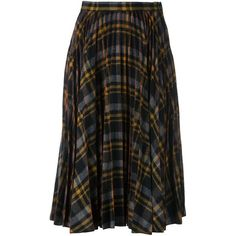 Maison Margiela checked pleated skirt ($1,014) ❤ liked on Polyvore featuring skirts, multicolor, knee high skirts, high waisted skirts, high-waisted skirts, checked skirt and checkered skirt
