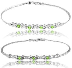 8/8/2012 Summer #BirthStone Collection  $14.99  + FREE SHIPPING Choice: Peridot Sterling Silver X-O Design or Bow Design Snake Link Bracelet