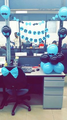 birthday-mustach/ - The world's most private search engine Zebra Birthday, Late Birthday, 1st Boy Birthday, Happy Birthday, Birthday Ideas, Office Cubical Decor, Work Cubicle Decor, Cubicle Birthday Decorations, Balloon Decorations