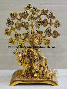 Radha Krishna Idol Statue with Cow Design Decorative Indian | Etsy