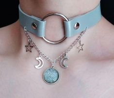 celestial o ring collar - o ring choker - moon and star necklace - pastel goth - soft grunge - moon choker Fantasy Jewelry, Gothic Jewelry, Silver Jewelry, Jewelry Trends, Jewelry Accessories, Grunge Accessories, O Ring Choker, Magical Jewelry, Accesorios Casual