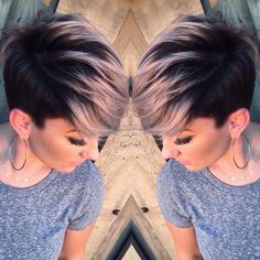 Pastels Short Hairstyles - Undercut with Short Hair - Pixie Hairstyles with smokey pink hair