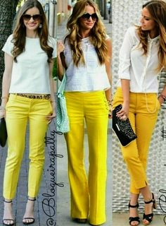 Pants n tops Yellow Jeans Outfit, Colored Pants Outfits, Yellow Clothes, Yellow Pants, Classy Work Outfits, Cute Comfy Outfits, Casual Fall Outfits, Stylish Outfits, Spring Outfits