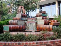 Stacked Books Waterfall, Public Library of Cincinnati