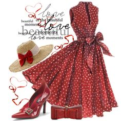 A fashion look from February 2014 featuring victorian shoes, red handbags and red hat. Browse and shop related looks. Derby Attire, Kentucky Derby Outfit, Derby Outfits, Kentucky Derby Fashion, Cute Dresses, Vintage Dresses, Beautiful Dresses, Vintage Outfits, Vintage Fashion