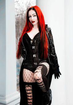 #Devastatia #Gothgirl #gothic #gothicfashion, #redhead #stockings #boots #corset  #fetish #latex #scene #redhead