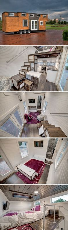 This 28', 304 sq.ft. tiny house on wheels comes with a full kitchen, pull-out sofa in the living room, storage stairs, and a skylight above the bedroom loft.