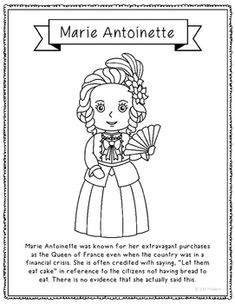 marie antoinette coloring page craft or poster with mini biography france