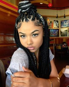 Gray and black box braids