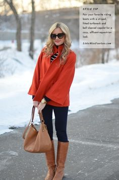orange coat + skinnies + riding boots