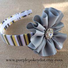 Gray, White and Yellow Striped Fabric Headband with Gray Jumble