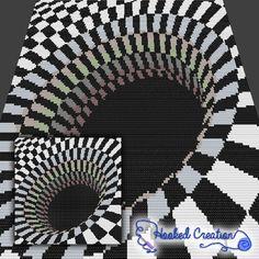 Optical Black Hole Mini C2C Throw Blanket Crochet Pattern _PDF Download