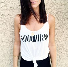 Women's Tank Top Good Vibes Graphic Print by LittleBeansCo on Etsy