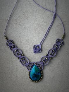 Macrame Necklace with CHRYSOCOLLA paste cabochon. BOHEMIAN