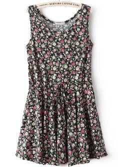 Black Sleeveless Floral Drawstring Pleated Dress 17.67