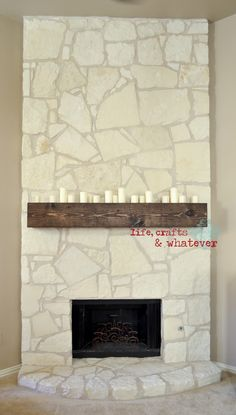 This link is about how to DIY a fireplace mantle. I pinned it because it is inspiration for white washing 70s slate fireplaces. A white wash on those old things with the super dark grout would be a spectacular way to bring an older home in to the new millenium.