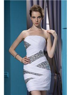 Unique Sheath/Column Sleeveless Strapless Mini-Length Sequins Cocktail Dress