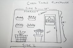 Card table play house plans for 4 different stores on each side of the playhouse.  Finished pictures at http://www.sewcando.com/2010/03/felt-house-along-revealed-house.html