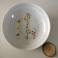 Assiette de naissance # collection trois petits oiseaux et la grande girafe : Puériculture par perle-de-kaolin