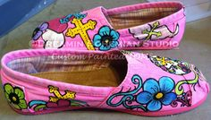 Sugar Skulls and Crosses Day of the Dead hand painted TOMS with crystals. $175.00, via Etsy.