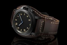 The Panerai Luminor California 8 Days DLC is a greatest hits of classic Panerai attributes. It's large blacked-out DLC case stands out. Panerai Luminor, Panerai Watches, Modern Watches, Vintage Watches, Cool Watches, Watches For Men, Leather Cuffs, Leather Men, Brown Leather