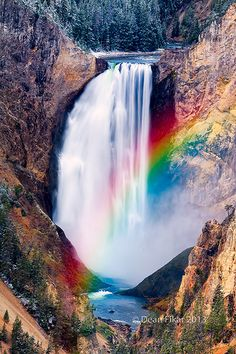 "Rainbow at Yellowstone Lower Falls, Wyoming - ""Marty, my mother used to say ""Never get greedy with God."" I think what she meant was ""Don't dare ask for more if you already have what you need."" "" ― James Patterson, The Christmas Wedding Beautiful Waterfalls, Beautiful Landscapes, Beautiful World, Beautiful Places, Les Cascades, Amazing Nature, Pretty Pictures, Wonders Of The World, Nature Photography"