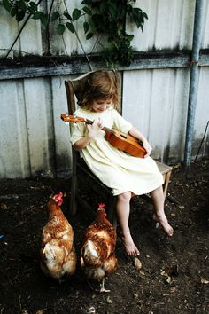This pic makes me think of my nieces 3,4 and 8 years old with their ukuleles and brown hens .