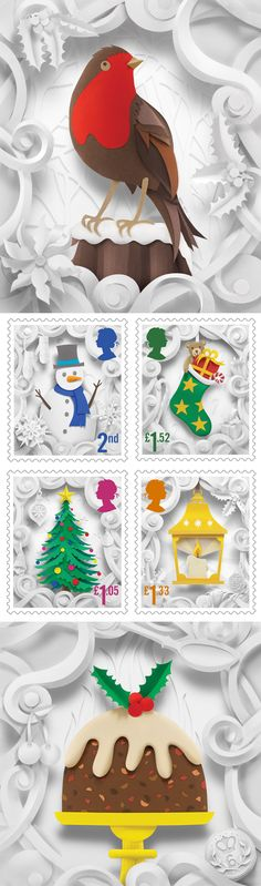 Delightful Christmas Stamp Collection Handcrafted in Paper by Helen Musselwhite   Click for full post! #christmas #paperart #illustration