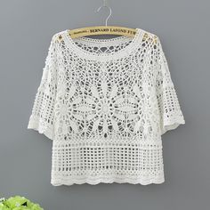 Womens Summer large size knit cardigan cotton lace blouse shawl blouse beachliilgal - Knitting and Crochet T-shirt Au Crochet, Crochet Shirt, Cardigan En Maille, Knit Cardigan, Crochet Summer Tops, Mode Boho, Cotton Lace, Lace Tops, Crochet Clothes