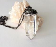 Crystal Quartz Point Necklace- OOAK Large Smoky Quartz Pendant by NaturalGlam on Etsy