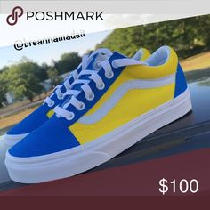Shop Women s Vans Blue Yellow size All sizes Sneakers at a discounted price  at Poshmark. Description  Custom blue and yellow vans. 1025b67b2