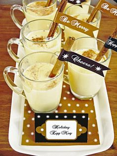 Homemade Eggnog. Delish! Free printable flags for cinnamon sticks from HGTV: http://www.hgtv.com/entertaining/holiday-party-ideas-an-elegant-table-with-handmade-details/pictures/page-17.html?soc=pinterest