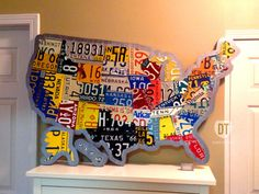 "License Plate Map of the United States 48"" x 32"" USA - Silhouette Cut on Etsy."