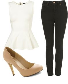 Inspired Christmas Outfit  Cotton shirt / Topshop high waisted jeans / High heels